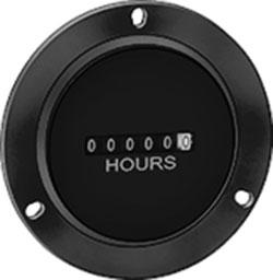Round Quartz Hour Meter, 10-80 V DC, 3 Hole Flange